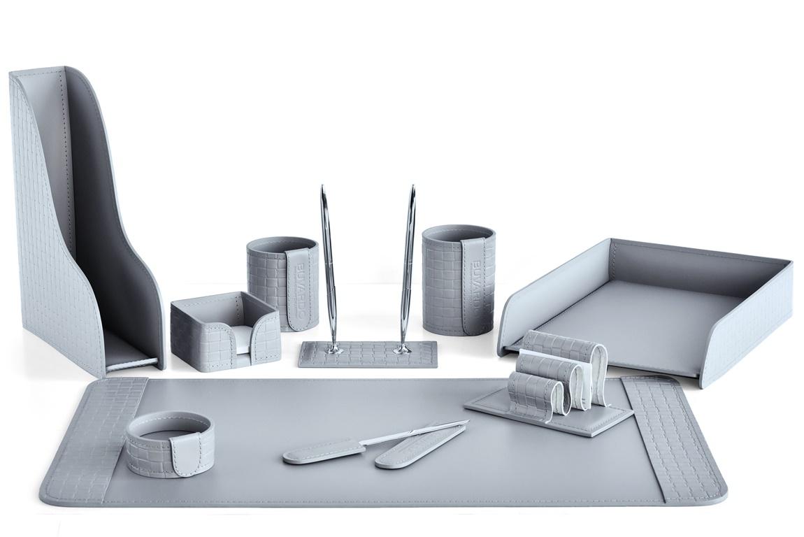Набор серый на стол из 10 предметов из натуральной кожи intrecciato: