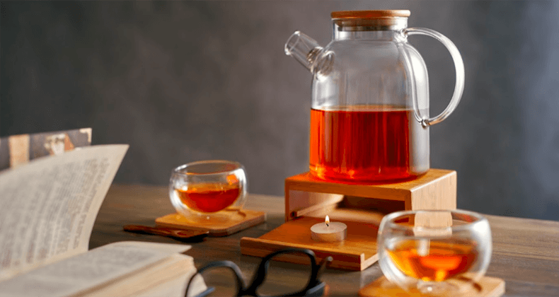 Стеклянный чайник с подогревом от свечи Бамбук | Купить в магазине TeaStar.ru в Москве, СПб