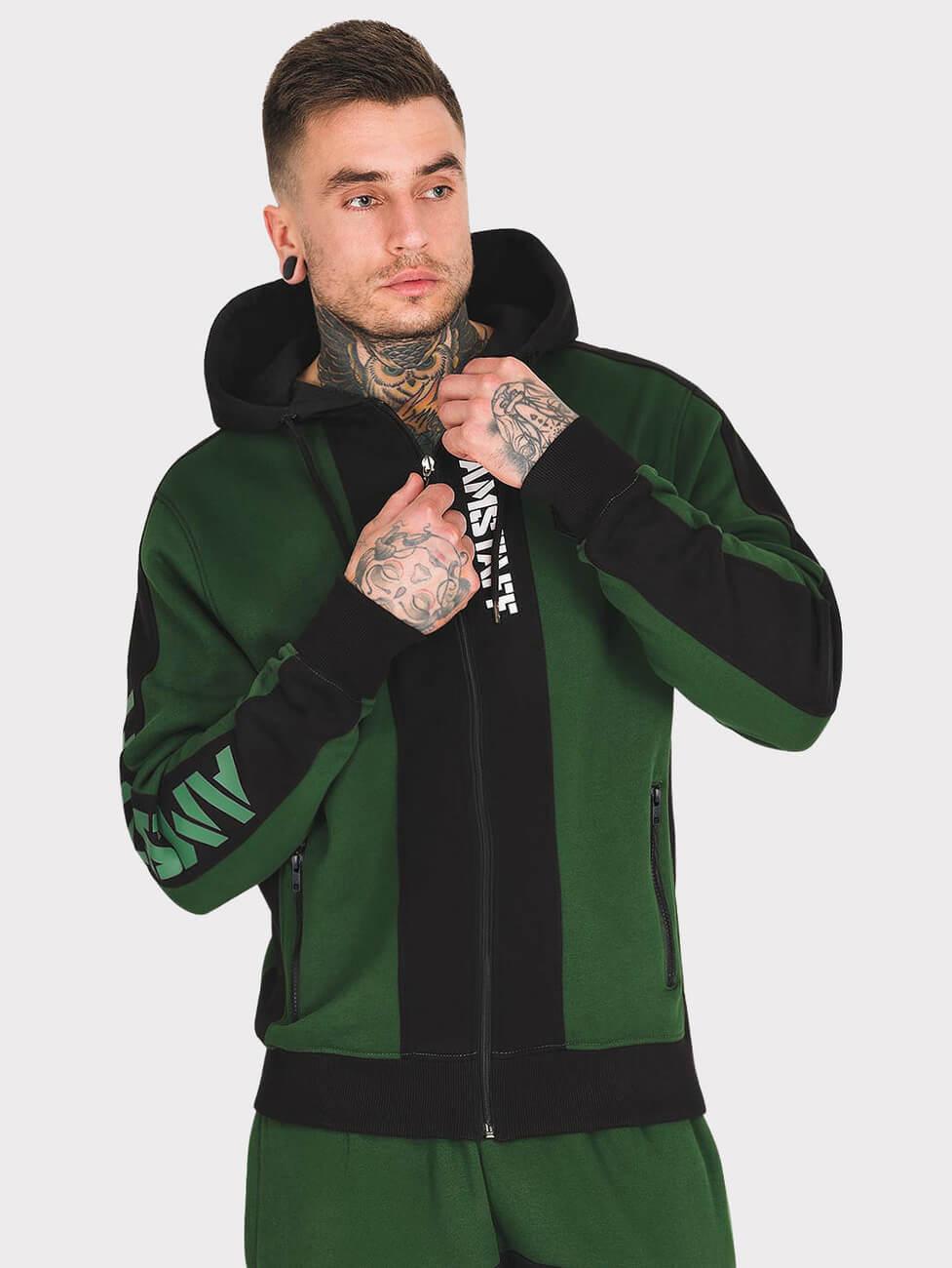 Зеленый спортивный костюм мужской с полосками