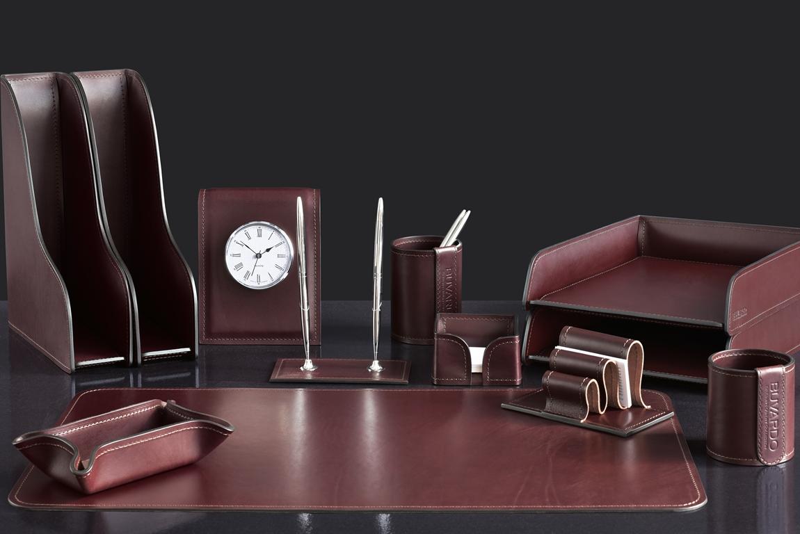 элитный настольный набор на стол руководителя с часами випнабор