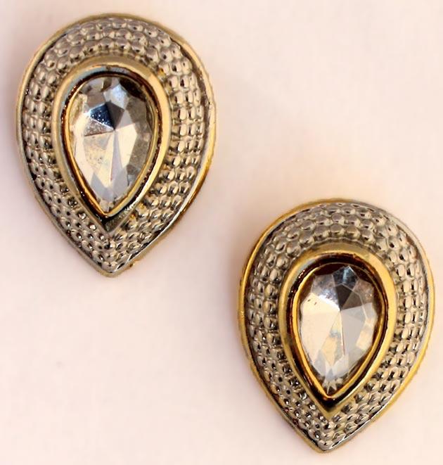 Купите винтажные клипсы-капли с кристаллом - фото