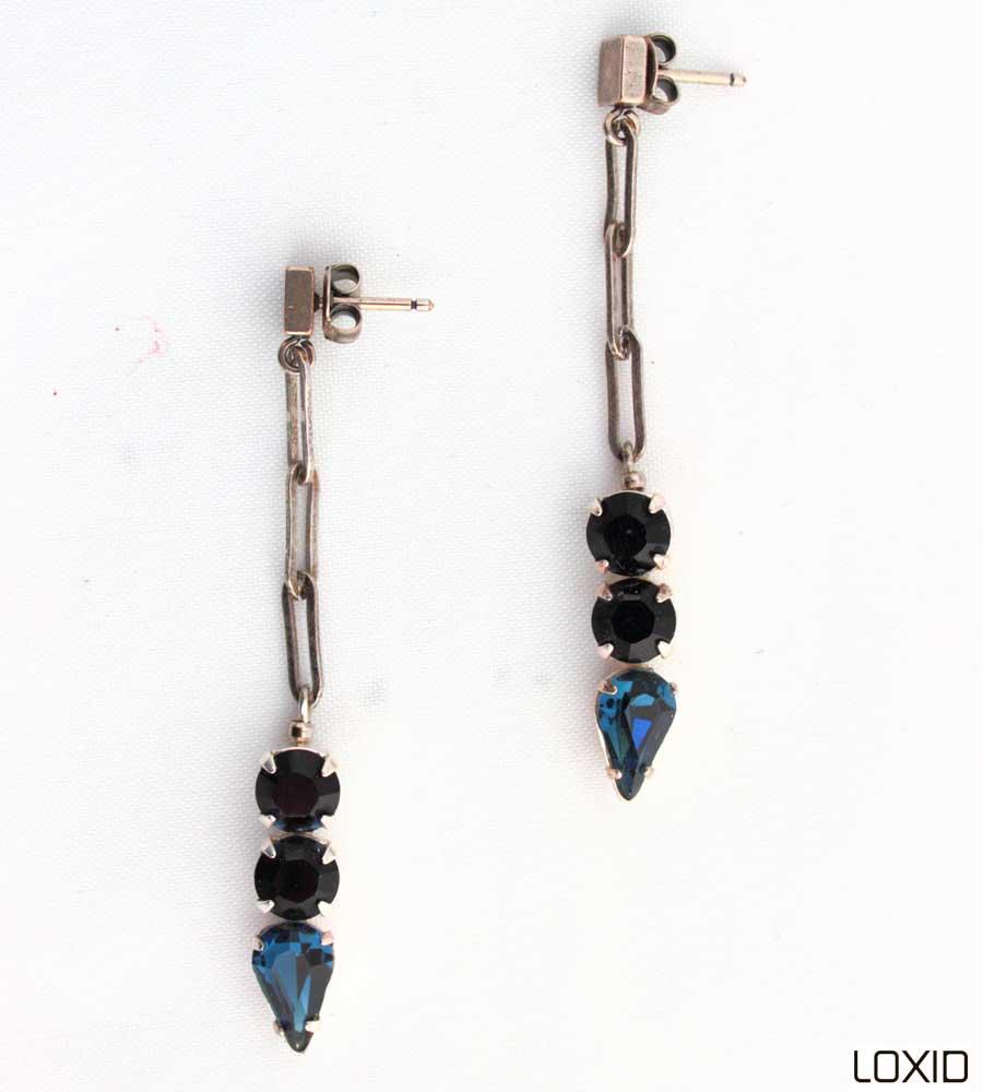 купить синие серьги с кристаллами сваровски фото