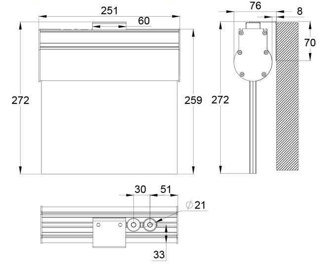 Монтажные размеры настенного крепления указателя аварийного освещения ESC-10