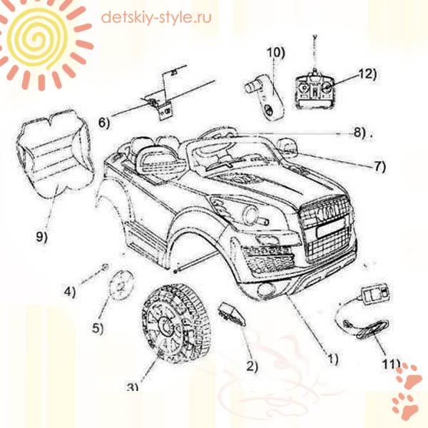 Электромобиль Audi Q7 HL-128, электромобиль hl128, audi q7, отзывы, купить, цена, дешево, доставка Москва, россия, заказать, интернет магазин