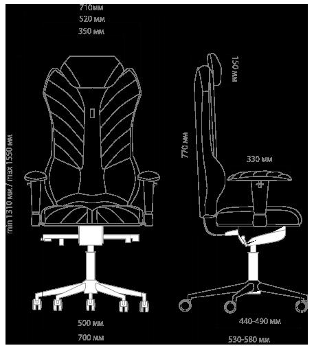 Габариты кресла KULIK SYSTEM MONARCH