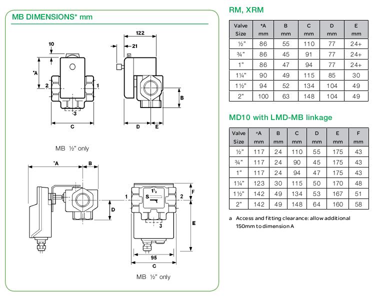 Размеры клапана Schneider Electric MB1652