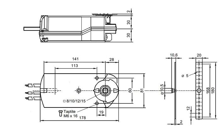 Размеры привода Siemens GNA126.1E/T10