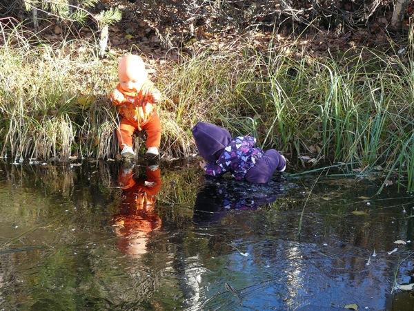 Наш смельчак провалился в воду!!!
