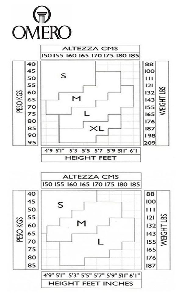 Таблица размеров чулок Omero