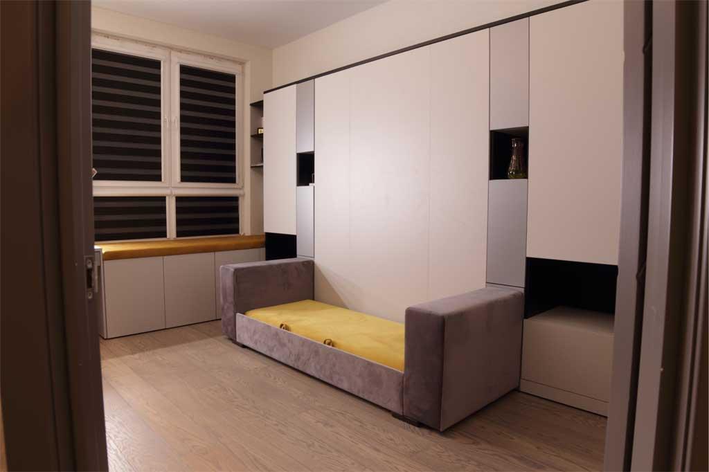 Комната в серо-черных тонах Манхэттен с откидной кроватью Глория и диваном горчичного цвета