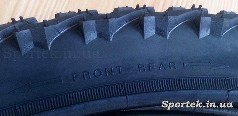Обозначение как устанавливать однонаправленную велопокрышку на колесе (Front-Rear)