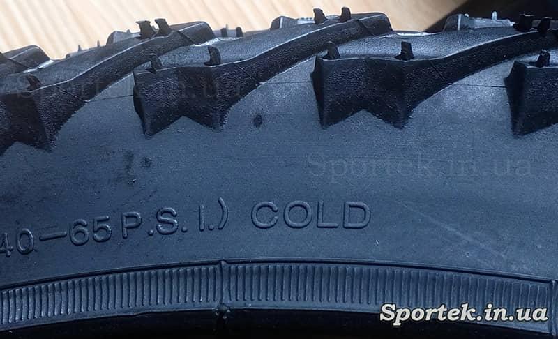 Покрышка может эксплуатироваться зимой - надпись не ней Cold