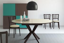 Стол кухонный KENNER B1100, раздвижной, венге/ стекло белое