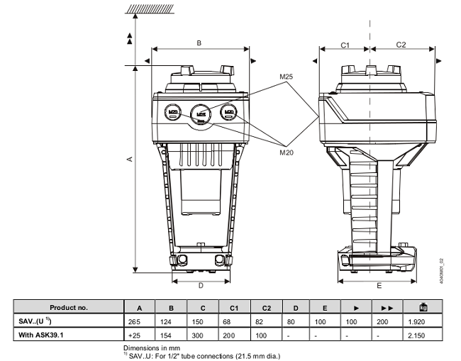 Размеры привода Siemens SAV31.00