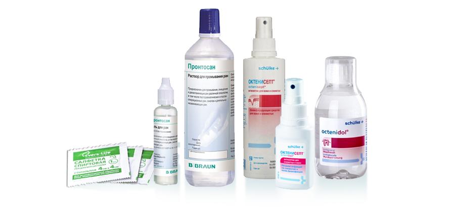 антисептики в ассортименте. фото