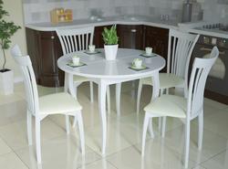 Стол кухонный KENNER 1000M, раздвижной, белый/стекло белое