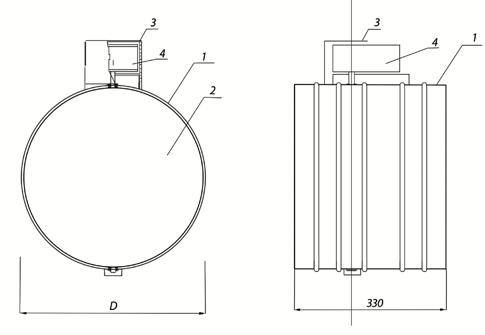 Схема клапана КОД-1М, EI-120 НЗ, диаметр Ф1120 мм, BLE230