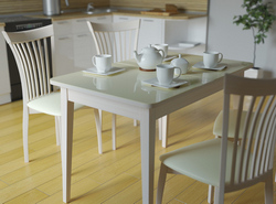 Стол кухонный KENNER 1100M, раздвижной, белый/стекло белое