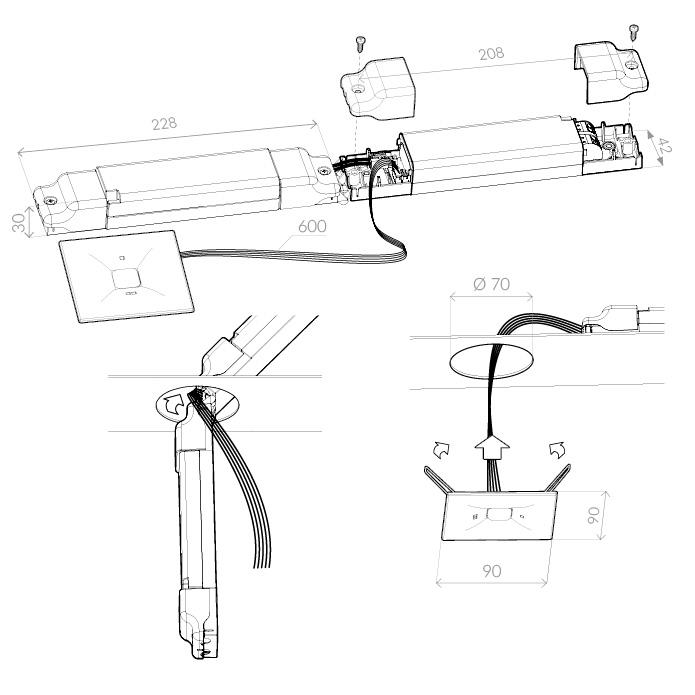 Монтаж аварийных светильников для освещения путей эвакуации ONTEC D