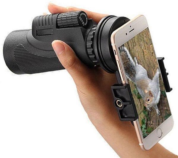 Подключение камеры смартфона к монокуляру через адаптер