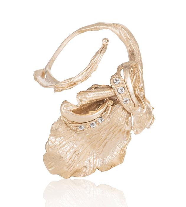 кольцо из позолоченной латуни с топазами от испанского бренда Cristina Zazo - Tender Sweet ring