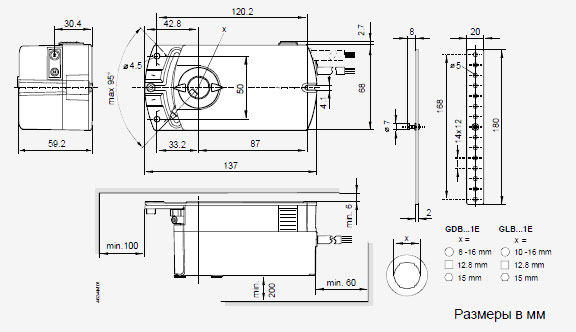Размеры привода Siemens GLB331.2E