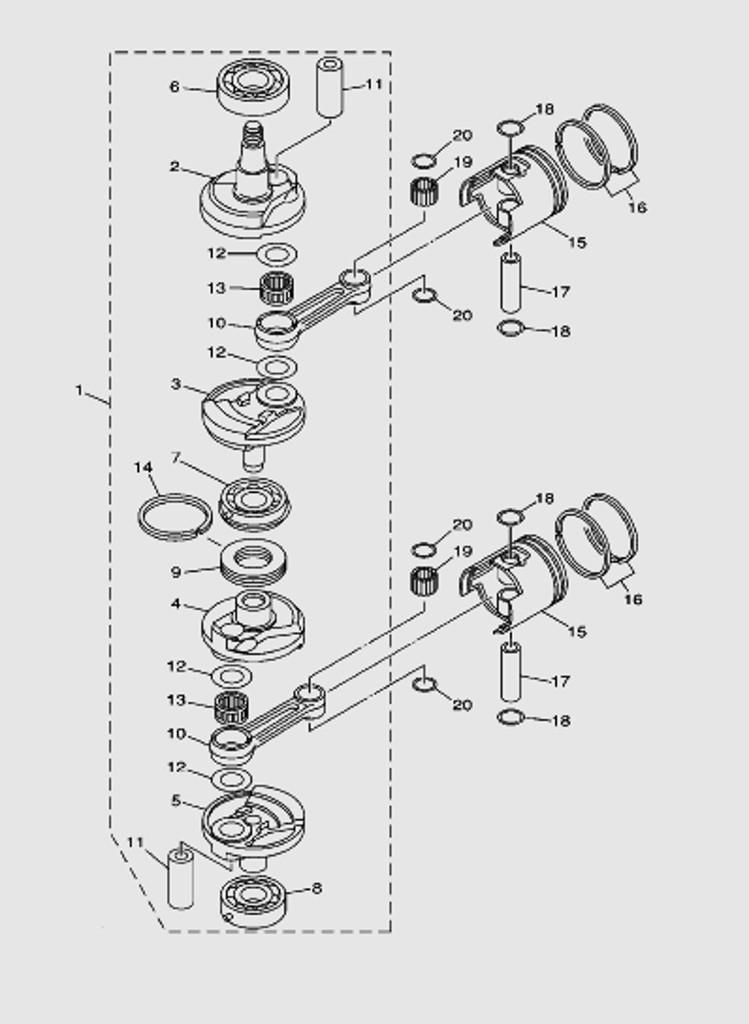 Коленвал и поршни для лодочного мотора T40 SEA-PRO