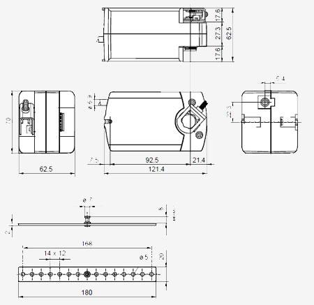 Размеры привода Siemens GQD161.1A