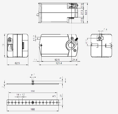 Размеры привода Siemens GQD161.9A