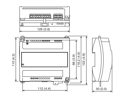 Размеры контроллера Tac Xenta 121-HP/24