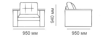 Габаритные размеры кресла-кровати Карелия-Люкс