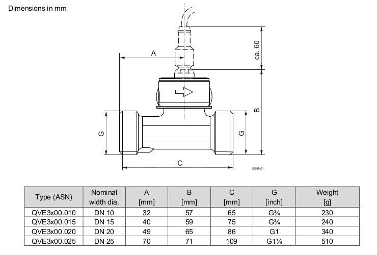 Размеры датчика Siemens QVE3100.020