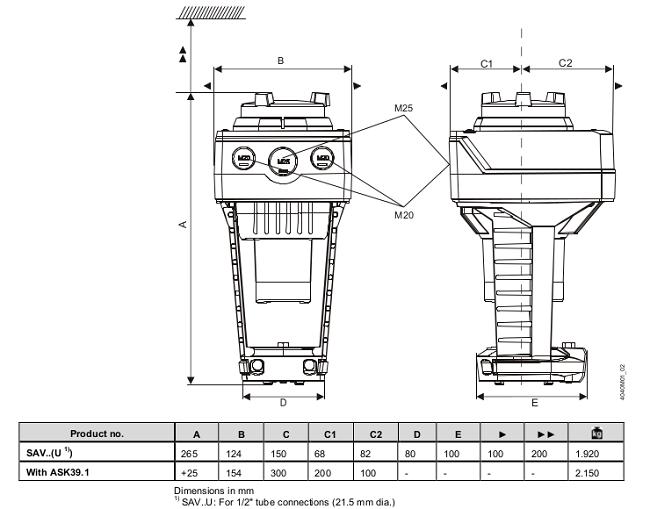 Размеры привода Siemens SAV61.00