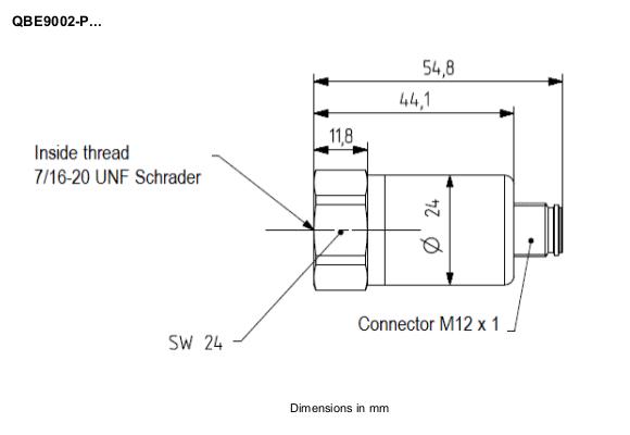 Размеры датчика Siemens QBE9002-P25U