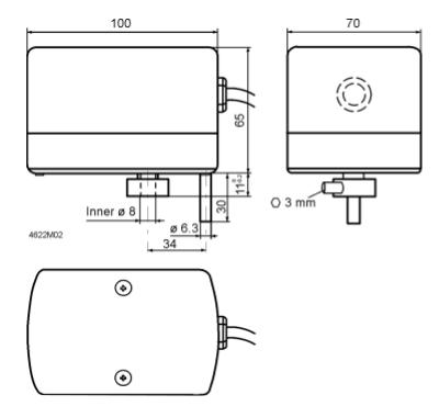 Размеры привода Siemens GXD131.1A