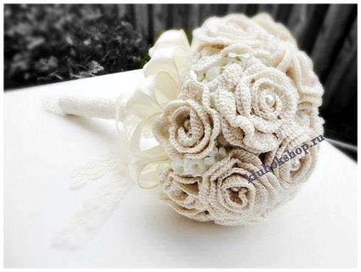 Вязаный свадебный букет