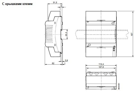 Размеры контроллера Siemens RXC21.5/00021