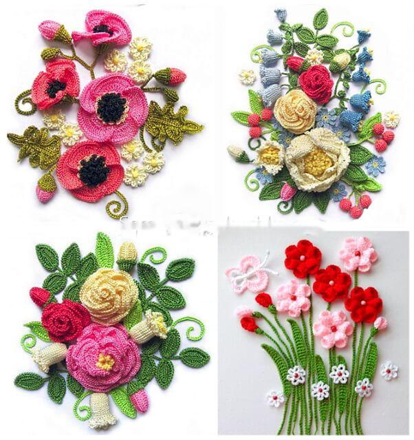 Вязаные цветы - панно
