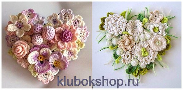 Вязаные цветы - панно-сердечки