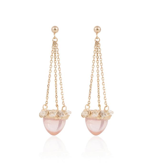 длинные серьги-гвоздики из позолоченной латуни с натуральными камнями от Cristina Zazo - Ice Age Pink earring
