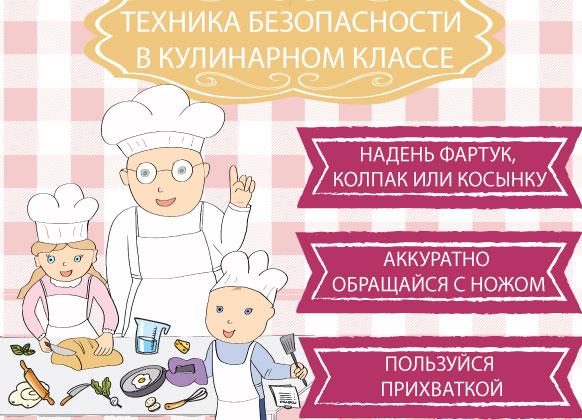 Техника безопасности в кулинарной матерской. Плакат