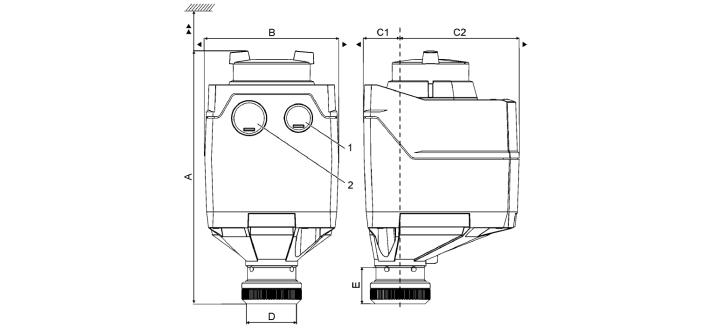 Размеры привода Siemens SAT61.008
