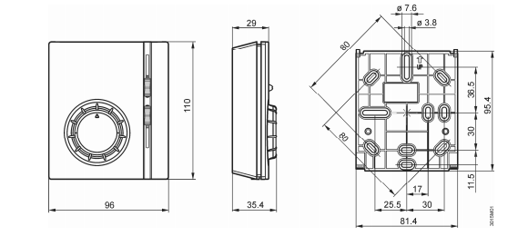 Размеры контроллера комнатной температуры Siemens RAB11.1