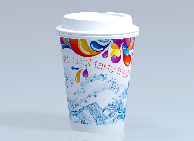 Бумажный одноразовый стаканчик для холодных напитков
