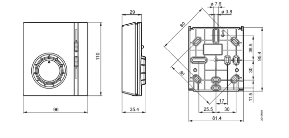 Размеры термостата Siemens RAB21.1