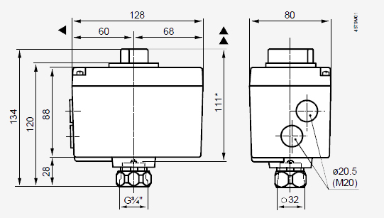Размеры привода Siemens SQD85.03