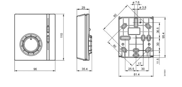 Размеры термостата Siemens RAB31