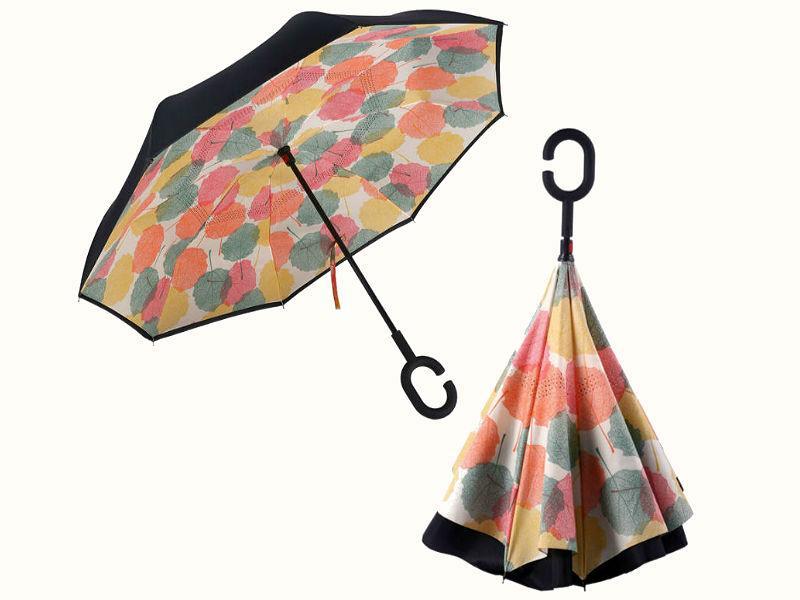 Обратный зонтик растительный принт