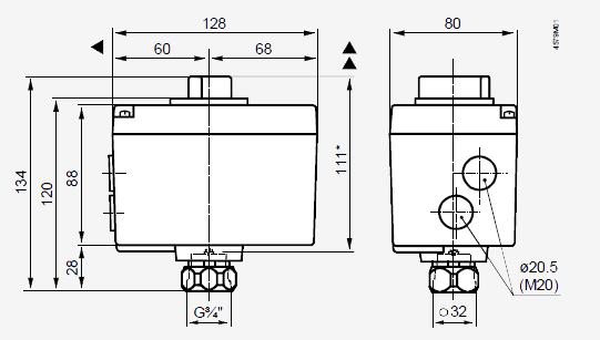 Размеры привода Siemens SQS35.00