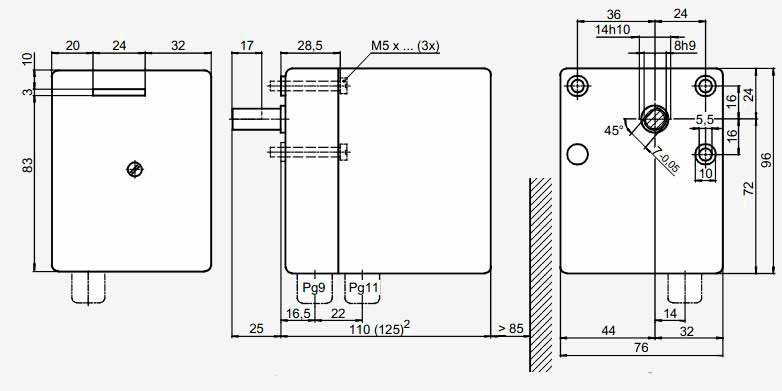 Размеры привода Siemens SQN30.121A2700